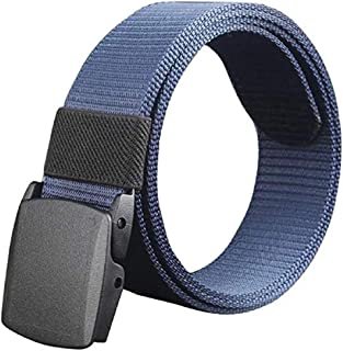 Jojck Men Solid Color Steel Buckle Nylon Woven Inner Belts Hypoallergenic Adjustable Waist Band