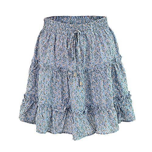 N\P Faldas de playa para mujer de verano con volantes en una línea impresa corta Mini
