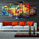 TUMOVO Abstract Canvas Wall Art Colorful Violin Clef Paintings Music Notes Picture 5 Panel Wall Art Modern Artwork Home Decor for Living Room Giclee Framed Gallery-Wrapped Ready to Hang(60''Wx32''H)