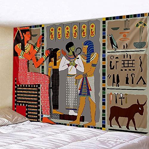 KHKJ Amarillo Tapiz Retro Egipcio Antiguo Tapiz Colgante de Pared Cultura Antigua Impreso Hippie Egipcio Tapiz de Pared hogar A4 230x180cm