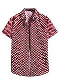 Camisa de verano de manga corta con estampado a cuadros casuales para hombre con cuello cuadrado y botones sueltos
