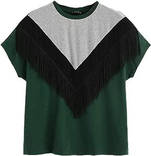 SheIn Women's Summer Short Sleeve Color Block T Shirt Loose Casual Tee Tops