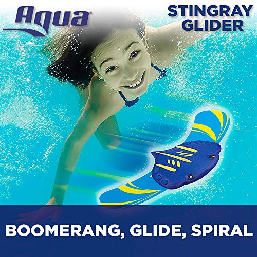 Aqua Stingray Underwater Glider, Self-Propelled, Adjustable Fins, Pool Game,Blue/Yellow Ages 5 and up