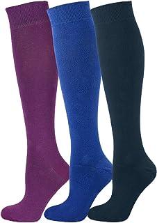 Mysocks, 3 pares de calcetines largos unisex hasta la rodilla Multi llano con algodón peinado extra fino