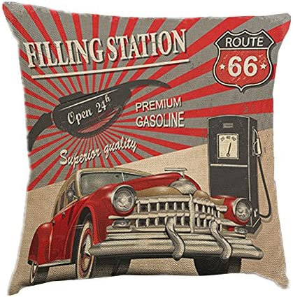 Easternproject Vintage Throw Pillow Covers Decorative Cartoon 66 Route Cars Print Funny Quote product image