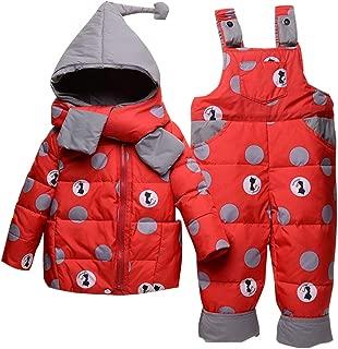 Sciarpa Bambini Tuta da Sci Vestiti Completini e Coordinati Vimukun Tute da Neve Bambino Inverno 3 Pezzi Tutone Cappuccio Piumino Pantaloni e Salopette da Neve