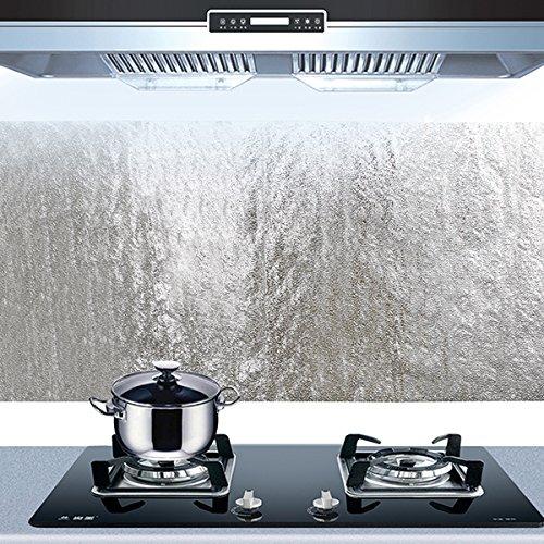 Bluelover Cocina Aluminio Película Aceite Etiqueta Engomada Auta-Adhesivo Aceitecocina Gabinete Pared Adhesivo Papel Anti