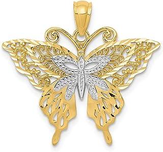 Ciondolo a forma di farfalla in oro giallo 14 kt, placcato al rodio, lunghezza 23 mm