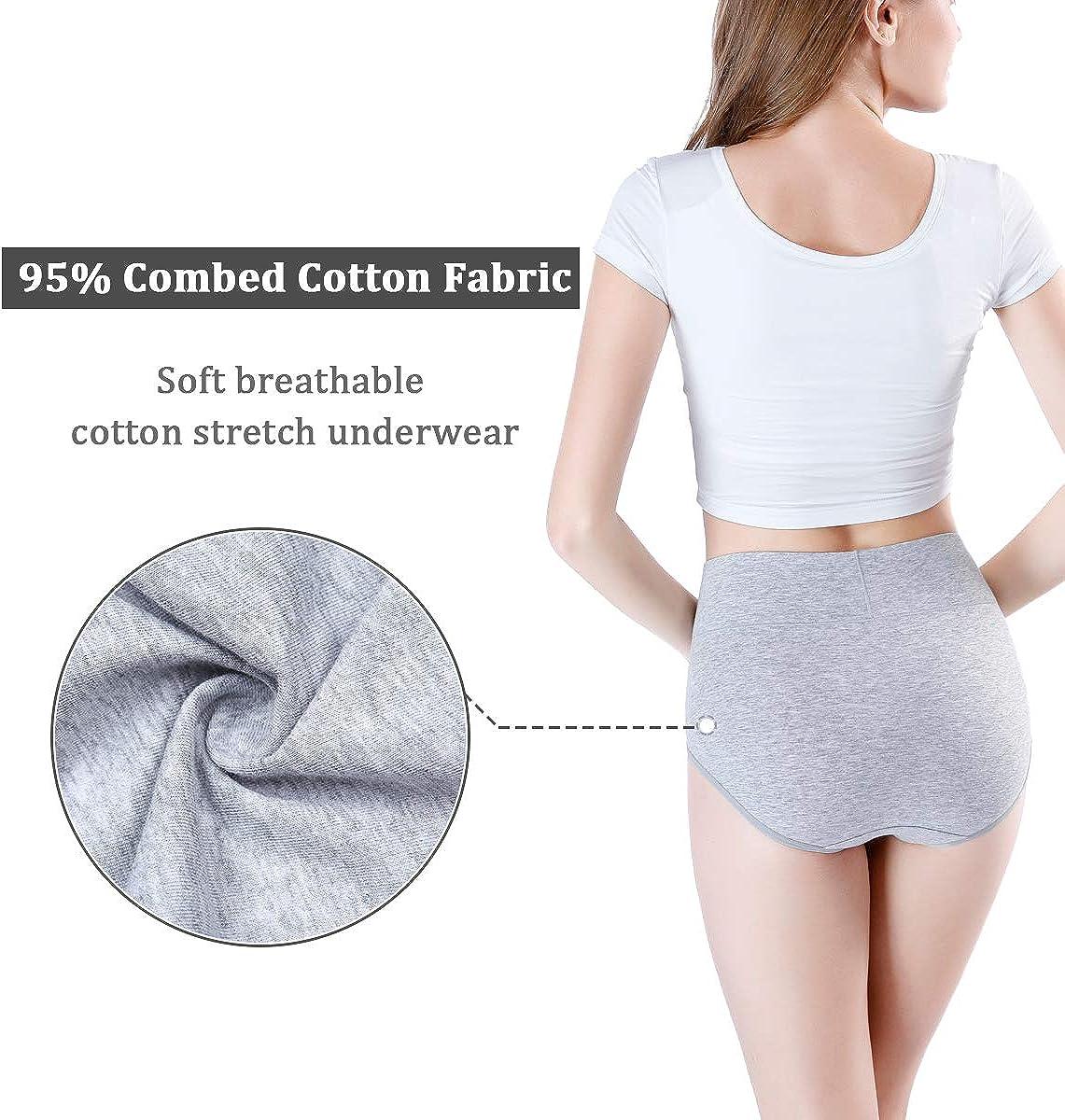 wirarpa Damen Unterhosen Baumwolle Slip Damen High Waist Taillenslip Wochenbett Unterwäsche Kaiserschnitt Unterhose Mehrpack Grau