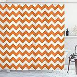 ABAKUHAUS Herbst Duschvorhang, Ferien Saisonale Farbe, mit 12 Ringe Set Wasserdicht Stielvoll Modern Farbfest & Schimmel Resistent, 175x180 cm, Orange Weiß