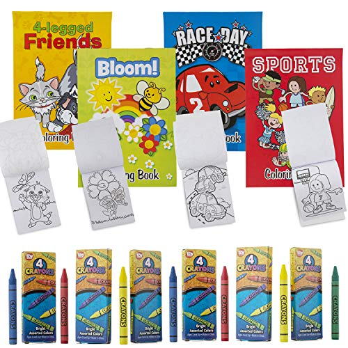 Favonir Assorted Coloring Books And Crayons set of 12 – Everyday Fun Stationary Designs For Kids Activity – Ideal For School, Home And Birthday Party Favors - 12 Books 12 Pack Crayons