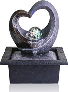 Ferrisland Tabletop Water Garden Zen Fountain with LED Light, Fountain Fengshui Indoor Decoration – Zen Meditation Tabletop Decorative Waterfall Kit with Submersible Pump for Office and Home Decor