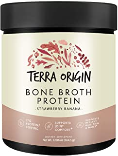Terra Origin Collagen Protein Bone Broth Powder, Natural Collagen from Real Whole Food Sources with 17g Protein, for Hair,...