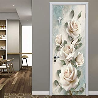 Static Cling Glass Film Non Adhesive Window Cling,Creative Skeleton Door Stickers Embossed Flower Pattern PVC Self-adhesive Wallpaper Home Decor Murals Refrigerator Art Posters ( 15 x 78.7 Inch )