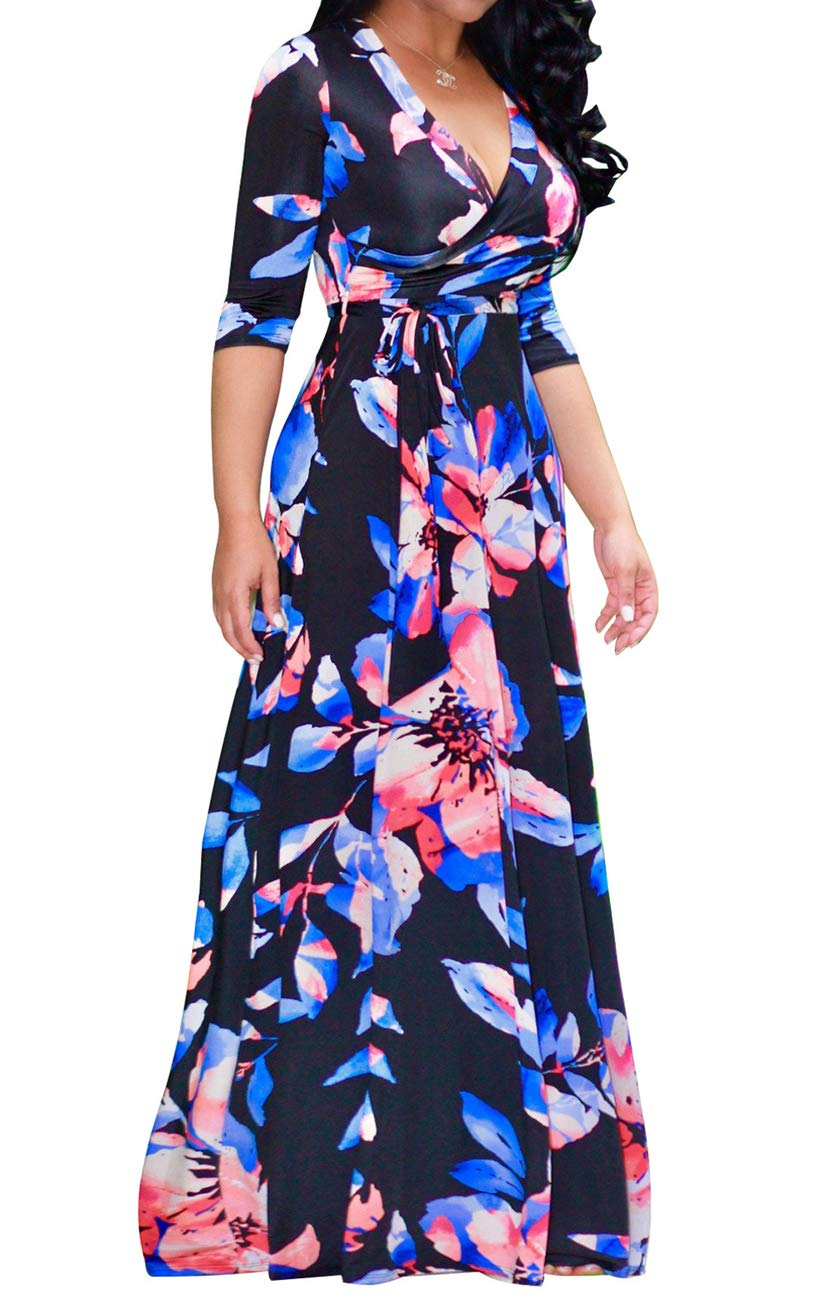Available at Amazon: Women's Sexy V Neck 3/4 Sleeve Floral Long Maxi Dresses Casual Loose Party Plus Size Dress with Belt