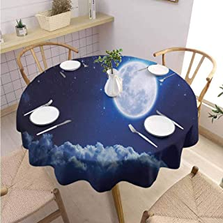 Moon,Round Tablecloth,Round Outdoor Tablecloth,Premium Round Tablecloth,Kitchen Dinning Tabletop Decoration-(55