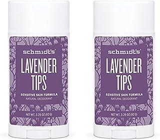 Schmidt's Natural Deodorant - Lavender Tips 3.25 Oz Sensitive Skin Stick; Aluminum-Free Odor Protection & Wetness Relief (...