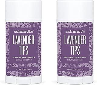 Schmidt's Natural Deodorant - Lavender Tips 3.25 Oz Sensitive Skin Stick; Aluminum-Free Odor Protection & Wetness Relief (Pack Of 2)