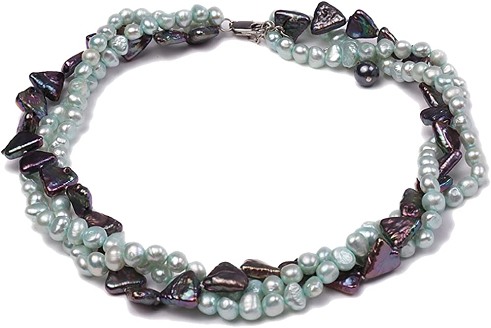 JYX Pearl Necklace Three-strand 6-7mm Light-blue and 12mm Dark-purple Cultured Freshwater Pearl Necklace for Women 16.5inch