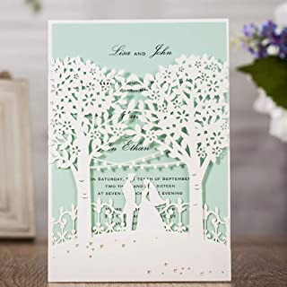 Wishamde Wedding Invitations Cards with White Laser Cut Bride and Groom Tree Printable Blue Inner Card for Marriage Birthday Party Bridal Shower (50 Pieces)