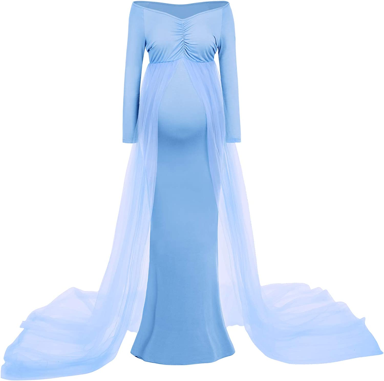 Maternity Off Shoulder Maxi Gown Long Sleeve V Neck Baby Shower Pregnancy Dresses for Photoshoot Wedding Evening Dress