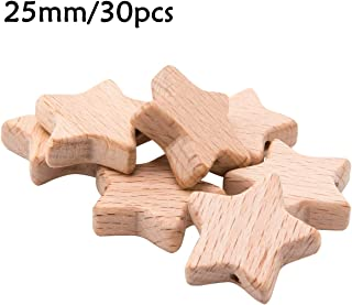 Biter teether 30 Packs Natural Star Shape Wood Beads 25 MM Unfinished Wooden Loose Beads Ball for DIY Art & Craft Project Jewelry Making Neutral Baby Teething Accessories