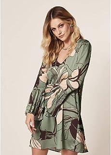 Vestido Cetim Estampa Floral Green