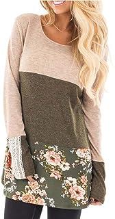 IEason Women Blouse 2017 Women Lace Floral Print Long Sleeve Shirt Loose Casual Blouse Top