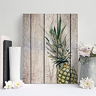 AMAZING WALL AmazingWall 30x40cm/11.8x15.7 Frame Wooden Pattern Pineapple Painting TV Background Living Room Bedroom Kids' Room Nursery Decor Home Decorations Removeable