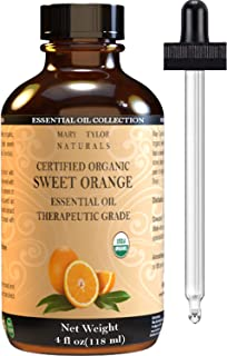 Organic Orange Essential Oil (4 oz), USDA Certified, 100% Pure Essential Oil, Therapeutic Grade, Citrus Sinensis by Mary T...