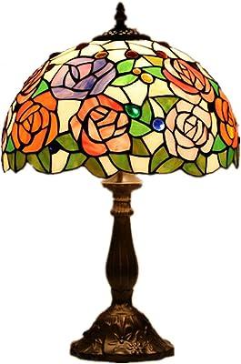 GAUUA Lampe De Chevet Lampe De Bureau De Style Tiffany Vitrail De Conception De Fleur De 12 Pouces Et Base en Alliage pour Lampe De Lecture De Chambre À Coucher De Salon