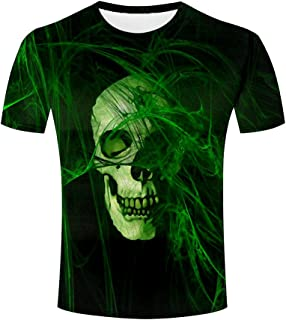 Jiacool Creative 3D T Shirt Silver Skull Printed Graphic Casual Men Tees Top