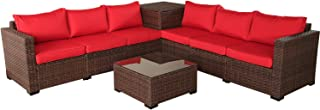 VALITA Patio PE Wicker Furniture Set 6 Pieces Outdoor Brown Rattan Sectional Conversation Sofa Chair with Storage Table and Red Cushions
