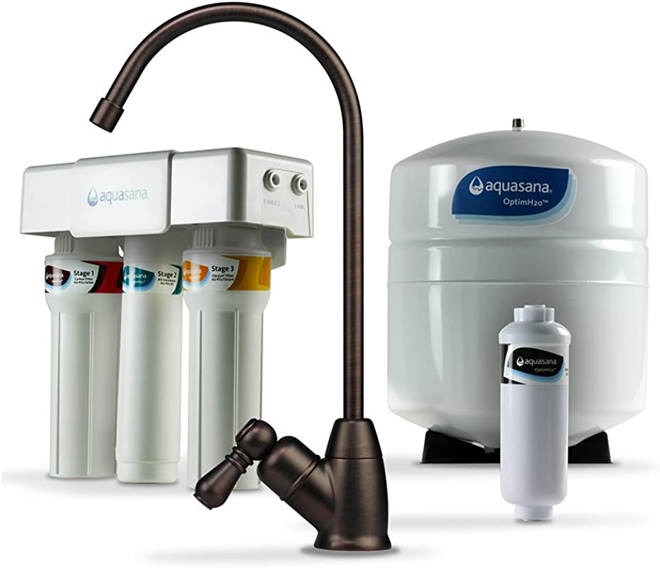 Aquasana OptimH2O Reverse Osmosis Water Filter With Remineralizer And Oil Rubbed Bronze Faucet