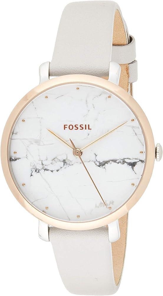 Fossil, orologio per donna , cassa in acciaio inossidabile e cinturino in pelle, quadrante in vero marmo ES4377