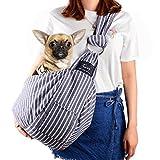 CUBY ペットスリング 犬 抱っこ紐 スリングバッグ 調整可能 ブルー ストラップ 小型犬 ねこ用/いぬ用