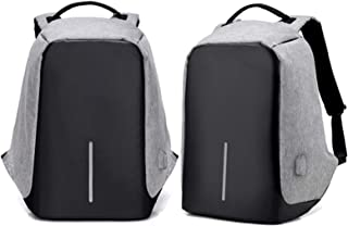 Milano Anti-Theft Travel School Work University Laptop Documents USB Charging Backpack Bag Grey