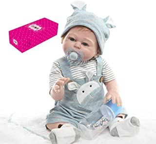 Docooler Decdeal Reborn Baby Doll Silicone Full Body 19 inch Lifelike Cute Bath Dolls for Children Kids Toddlers Birthday Shower Gifts with Blue Rabbit Outfit