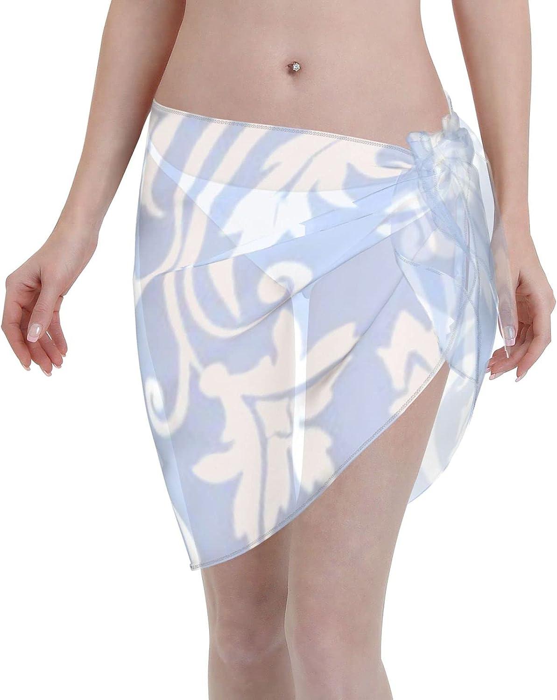 Women Short Sarongs Beach Wrap,Beach Wrap Sheer Bikini Wraps Chiffon Cover UpsLight Blue Vintage Damask Pattern Beach Wrap Sheer Bikini Wraps Chiffon Cover Ups