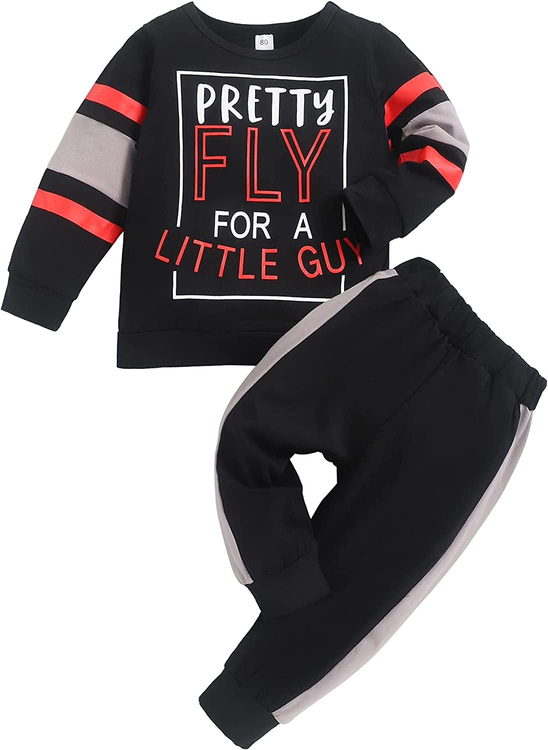 Toddler Baby Boy Fall Winter Clothes 2-Piece Long Sleeve Top and Jogger Pant Set for Boys