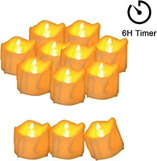 Cozeyat 12pcs Tea Lights Led Timer 6 Hours Battery Operated Mini Candles, Long Lasting Timed Tea Lights Flickering Yellow Gifts for Wedding, Holiday, Church, Home Kitchen Decoration (Wax drip)