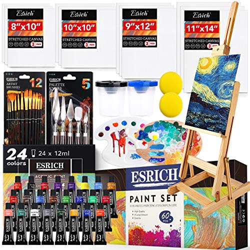 Professional Acrylic Paint Set, 60 Pieces with Paint Brushes,Acrylic Paint,Easel,4 Sizes Blank Canvases,Palette, Paint Knives,Brush Cup and Art Sponges for Adults Hobbyists and Beginners