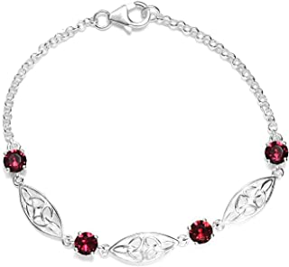 925 Sterling Silver Made with SWAROVSKI Round Ruby Crystal Bolo Bracelet for Women Hypoallergenic Jewelry .25