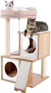 PAWZ Road Cat Tree 35 Inches Wooden Cat Tower with Double Condos, Spacious Perch, Fully Wrapped Scratching Sisal Posts and...