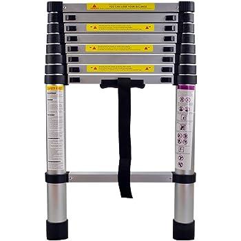 9 Sprossen Teleskopleiter 2,6m Alu Mehrzweckleiter Multifunktion Ausziehleiter Multifunktionsleiter Anlegeleiter 150 kg Belastbarkeit