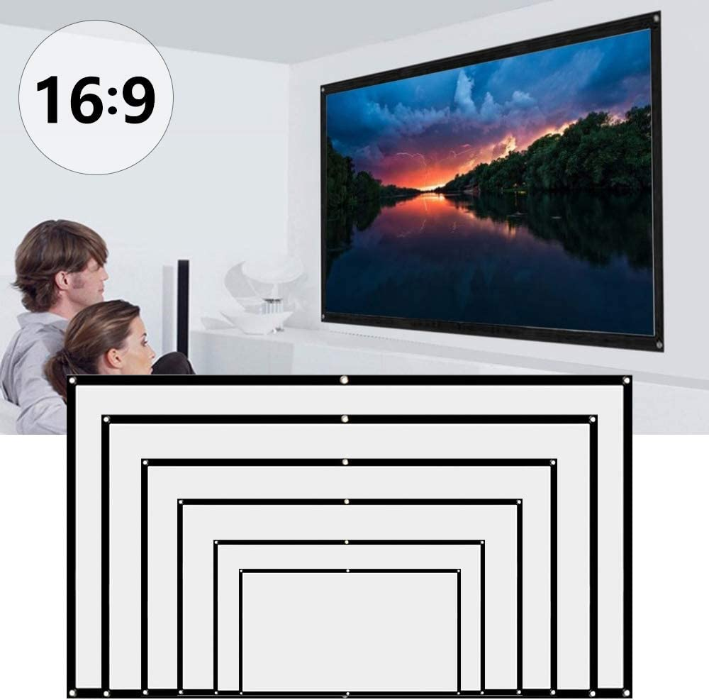 Projector Screen 60/72/ 84/100/ 120/150 Inch, Mobile Projection Screen with 16:9 HD Movie Screen Foldable Screen for Home Theater Cinema, Indoor Outdoor Front and Rear Projection (100 inch)