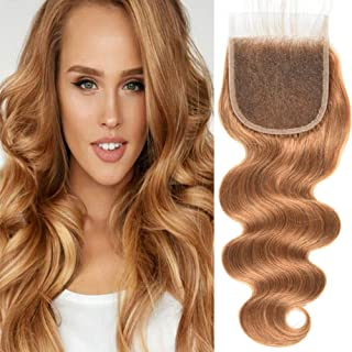 Black Rose Hair 4x4 Free Part Top Lace Closure 27# Blonde Brazilian Virgin Human Hair Body Wave Lace Frontal Closure Bleached Knots With Baby Hair (10 inches)