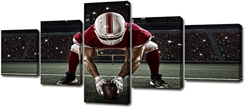 DJSYLIFE- NFL Sports Theme Painting American Football Player with Red Uniform-Black White and Red Canvas Wall Art-Artwork Home Decor for Living Room Framed Ready to Hang 50''Wx24''H