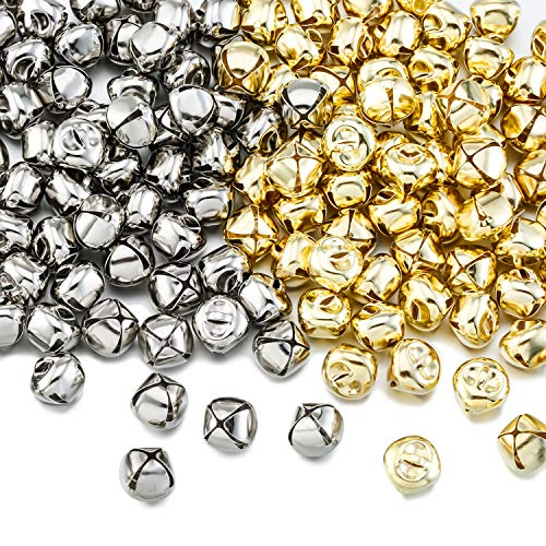 Zhanmai Klimpern Weihnachten Glocken, 300 Stücke Handwerk Glocken, DIY Glocken für Kranz, Ferienhaus und Weihnachtsdekoration (Silber/Gold, 0,5 Zoll)