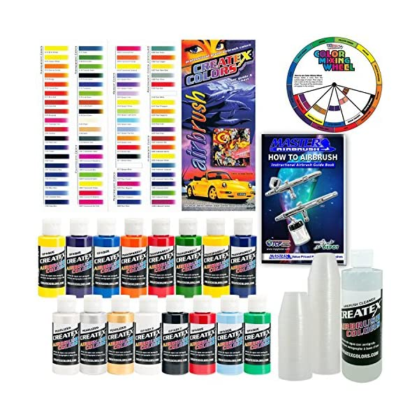 Createx-KIT-SUPER16-Airbrush-Super-Starter-Kit-With-Pack-of-100-1-Ounce-Paint-Mixing-Cups-Airbrush-Book-Createx-Color-Chart-of-all-80-Colors-and-Pocket-Mixing-Color-Pocket-Wheel